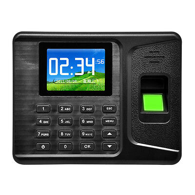 "2.8"" TFT Biometric Fingerprint and Password Attendance Time Clock Machine Black"