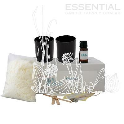 Soy Candle Making Kit 4 x Black Glass Jars, Contains everything you need PreMeas