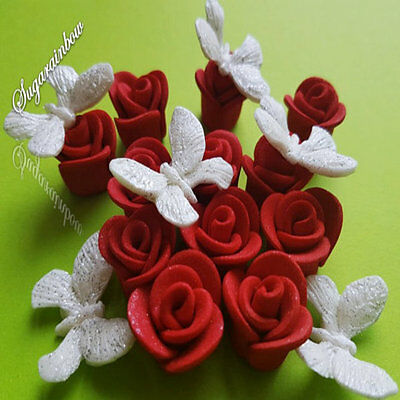 18 edible sugar paste roses butterflies cake cupcake toppers decorations