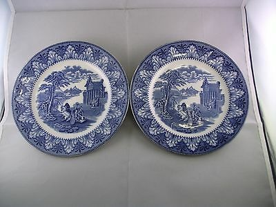 Pair Antique Cauldon Blue and White Side Plates Chariot Pattern