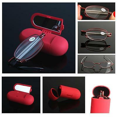 Portable Folding Mirrored Reading Glasses With Mirror 1.0 1.5 2.0 2.5 3.0 3.5