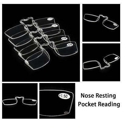 Portable Nose Resting Pocket Reading Glasses Clip Strength 1.0 1.5 2.0 2.5 3.0