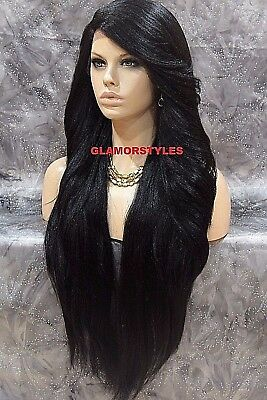 "38"" Long Layered Jet Black Full Lace Front Wig Heat Ok Hair Piece #1 NWT"