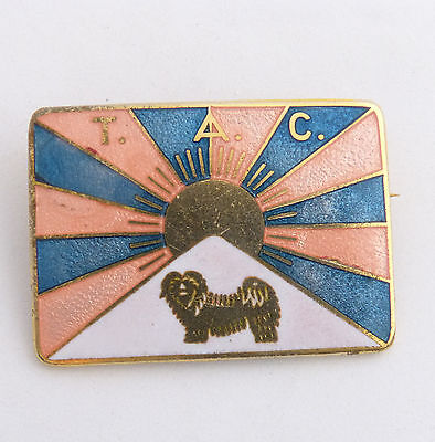 Tibetan Apso Club  Lhasa Apso Vintage Dog Brooch Pin Enamel and Metal