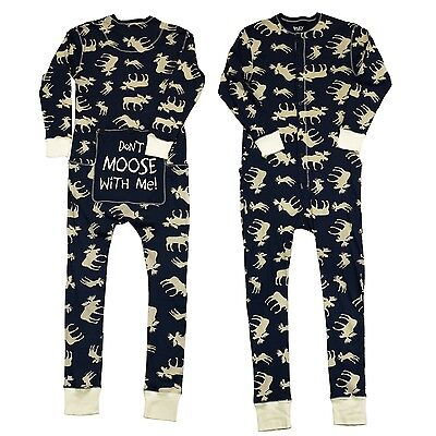 LazyOne Mens Classic Moose Blue Onesie Flapjack Adult