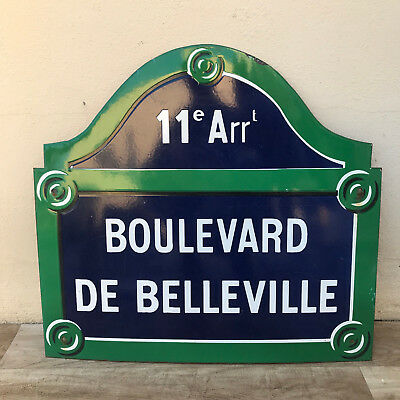 REAL PARIS STREET SIGN Old French Street Enameled Sign Boulevard de Belleville