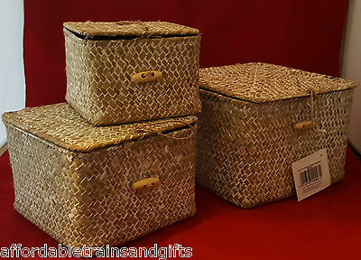 SET OF 3 STRAW WOVEN BASKETS WITH L;IDS  NEW STORAGE IDEA ideal table top