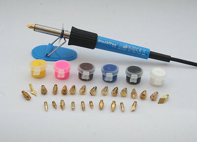 Pyrography tool 30w with 26 tips, leather pieces and paints (STT58133A)