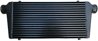 "Black universal large front mount intercooler 600mm x 300mm x 76mm 2.5"" 63mm"