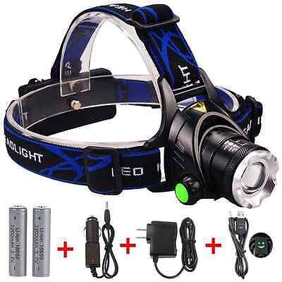 GRDE LED Headlamp Zoomable 3 Modes Waterproof Headlight for Outdoor Camping Hunt