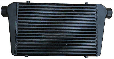 "Black universal large front mount intercooler 450mm x 300mm x 76mm 2.5"" 63mm"