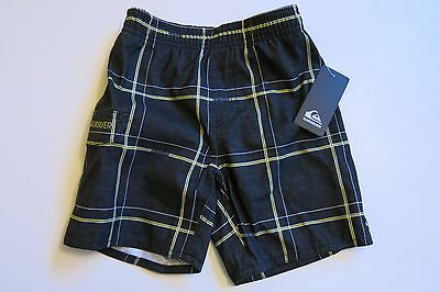 NWT Quiksilver Toddler Boy's Board Shorts Swim Trunks Black Plaid 2T/3T/4T Lined