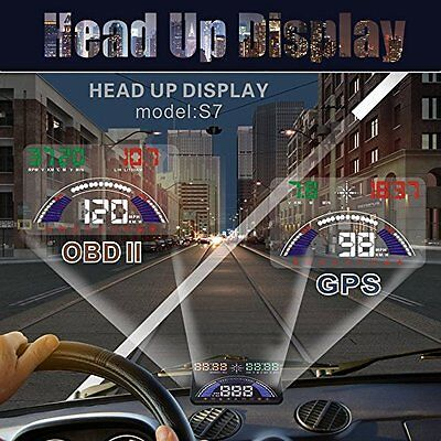 5.8 inch Car HUD Head Up Display Speedometer with Switchable OBD and GPS Dual Mo