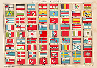 1912 Antique Illustration of the Flags of the World