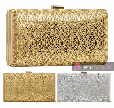 Women'S Silver Gold Hard Compact Patterned Diamante Prom Bridal Clutch Bag