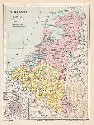 1912 Antique Map of Belgium, Luxemburg and the Netherlands