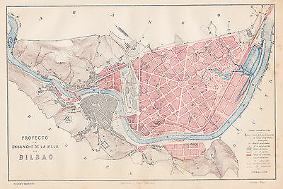1912 Antique Map of Bilbao, Spain