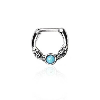 New Surgical Steel Green Synthetic Opal Vintage Nose Septum Clicker Ring 16g
