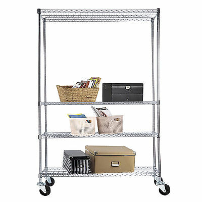 "4 Tier Adjustable 82""x48""x18"" Chrome Wire Shelving Rack Heavy Duty Steel Shelf"