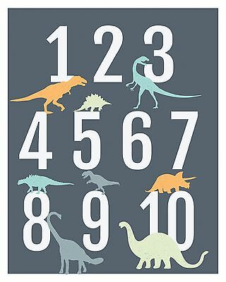 Dinosaur Numbers Poster Wall Art, Modern Nursery Decor, Dinosaur Kids Room Decor
