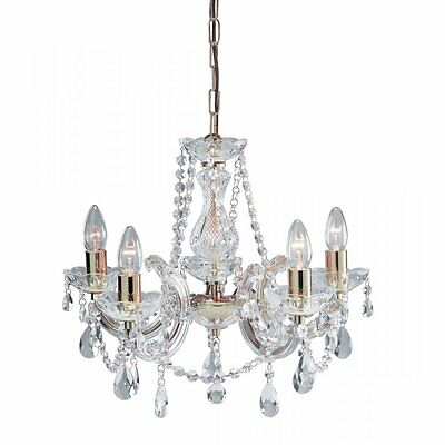 Christmas Marie Therese Crystal Glass Chandelier Pendant Polished Brass 5 Light