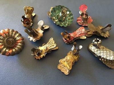9 christmas antique CANDLE HOLDER CLIPS TREE~METAL TIN DIFFERENT