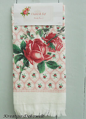 Clayre & Eef Gäste Handtuch Lovely Rose Shabby Rosa 100 % Baumwolle 40x60 CTLOR