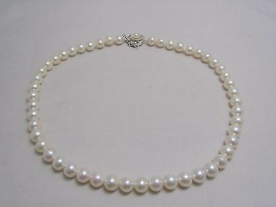 OFF BRAND Japanese Cultured Akoya Pearl Strand Necklace 8~8.5MM 17inch #1