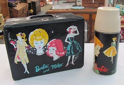 Vintage 1962 BARBIE Thermos & 1965 Barbie MIDGE Lunch Box Doll Tin Litho Cup WOW