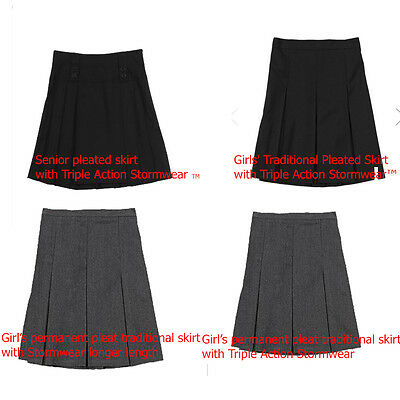 Girls School Skirts Ex Chainstore Pleated Grey,Navy,Black Ages Young To Seniors
