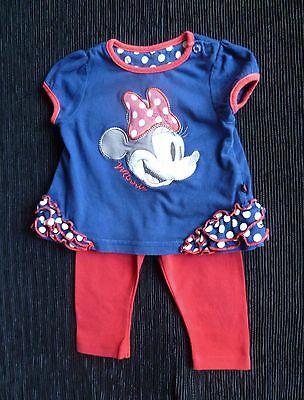 Baby clothes GIRL 3-6m Disney Minnie Mouse outfit navy blue/red top/leggings SS