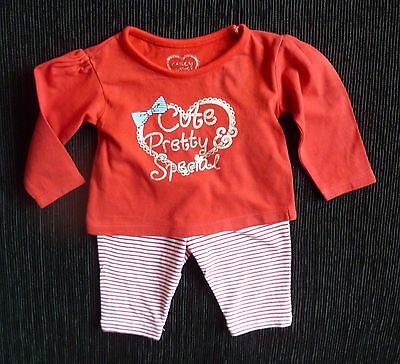 Baby clothes GIRL newborn 0-1m outfit red/white stripe legging/LS red/silver top