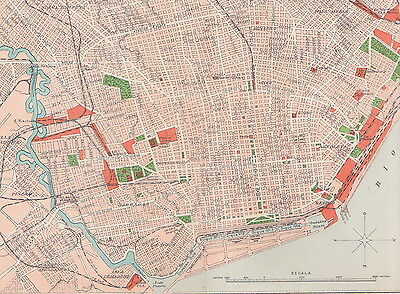 1912 Antique Map of Buenos Aires, Argentina