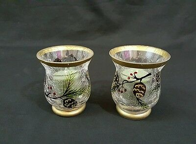 Yankee Candle Festive Crackle Glass Votive Candle Holders Set of 2