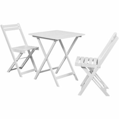 3 Piece Outdoor Garden Patio Furniture Bistro Table and Chairs Set White Wood
