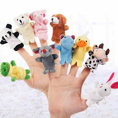 Family Finger Puppets Cloth Doll Baby Educational Hand Cartoon Animal Toy 10 Pcs