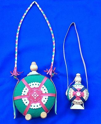 2 Hungary Souvenir Wood Flask/Decanter with Strap (601)