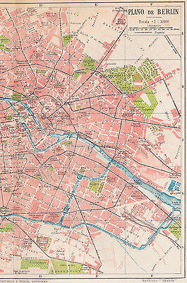 1912 Antique Map of Berlin, Germany