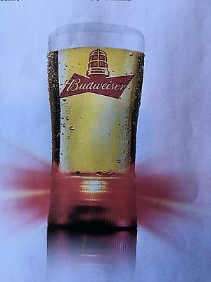 1 Budweiser Red Light Raise a Glass to Hockey-Goal-Synced Glass  new in box!!!!!
