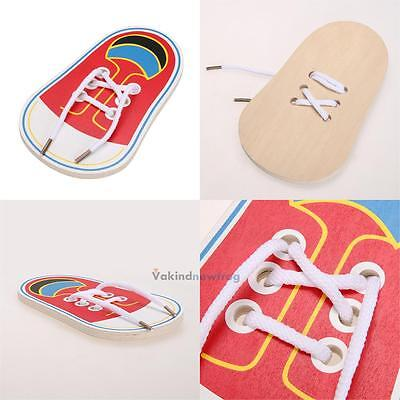 Kids Early Montessori Educational Toy Children Toddler Wooden Lacing Shoes New