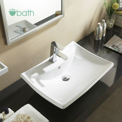 Bathroom Porcelain Ceramic Wall Mount Vanity Sink Basin Bowl Pop Up Drain White