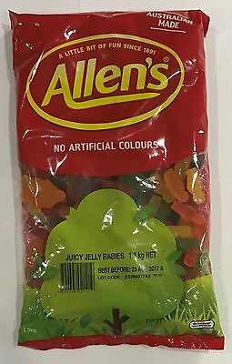 905917 1.3kg BULK BAG OF ALLEN'S FAMOUS JUICY JELLY BABIES! - AUSTRALIAN MADE