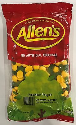 905922 1.3kg BULK BAG OF LOLLIES - ALLEN'S FAMOUS PINEAPPLES! - AUSTRALIAN MADE!