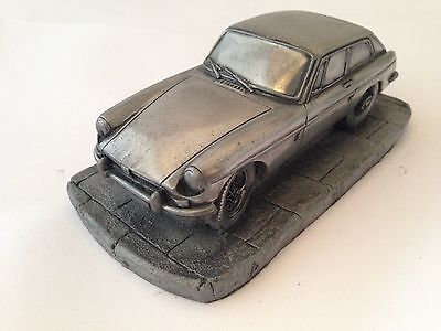 MGB GT Pewter Effect 1.32 Scale Model Car Handmade In Sheffield