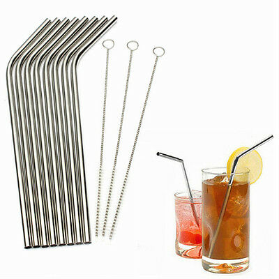 8pcs Stainless Steel Metal Reusable Cocktail Drinking Straws 3 Cleaner Brush Set