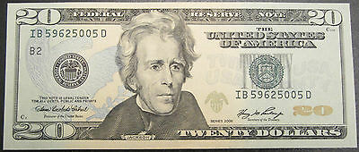 2006 Us $20 Dollars Bank Note Series Federal Reserve Note Unc