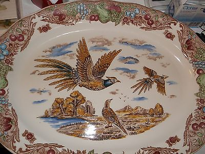 Beautiful Large Platter with Pheasants in Flight Decoration