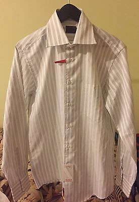 NEW - Feraud Men's Cotton Long Sleeve Collared Shirt - White with Grey Pinstripe