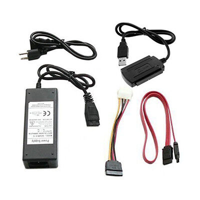 """2.5""""/3.5"""" IDE SATA Hard Disk Drive HDD to USB 2.0 Cable + AU Power Adapter"""