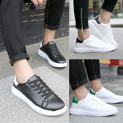 New Mens Fashion PU Leather Athletic Casual Low Top Sneakers Men Shoes Footwear